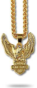 Europe 18K Gold Plated Eagle Wings Necklace Pendant for Man Woman