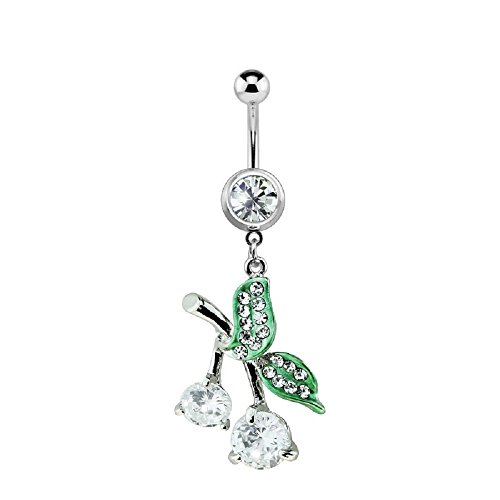 316L Surgical Steel Gem Cherry Dangle Freedom Fashion Belly Ring (Sold Individually)
