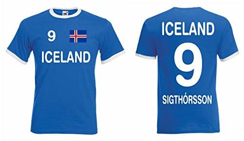 Iceland EM 2016 Retro Trikot Sigthorsson Fanshirt T-Shirt Iceland|blau-L