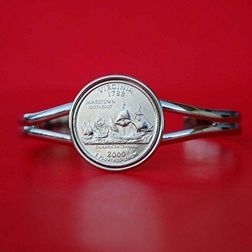 US 2000 Virginia State Quarter BU Unc Coin Silver Plated Cuff Bracelet - Beautiful ()