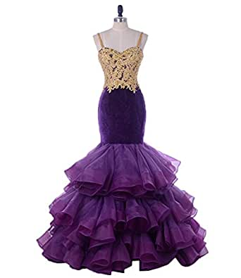 TulBridal Women's Spaghetti Straps Gold Appliques Beaded Mermaid Prom Dresses Long Party Gowns