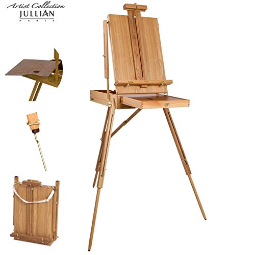 - Jullian Escort French Style Easel Includes Travel Sketchbox with 12 Inch Drawer, Wooden Pallete and Shoulder Strap - Birchwood