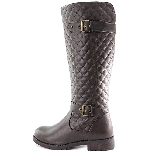 Combat Mid Side Brown DailyShoes with High Round Women's Knee Toe Pocket Rider Quilted Calf xO8A8YqPwB