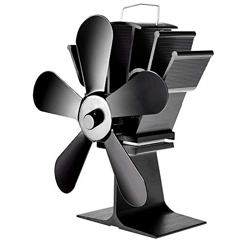 Yeechang Heat Powered Stove Fan,5-Blades Anodized Aluminum Stove Fan No Batteries Required No Noise Inbuilt Protection System
