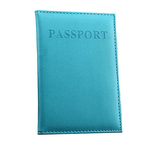 New Holder Travel Cover Case - Duseedik Leather RFID Blocking Wallet Travel Passport (Light Blue)