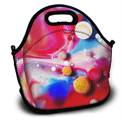(NBXIXI Colorful Water Drops Lunch Bags with Shoulder Strap Multi-Purpose Bento Boxes Insulated and Reusable Tote Bag for Youth)
