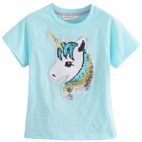 Unicorn Flip Heart Sequin Girl's T-Shirt Short/Long Sleeve 3-12 Years (12, Fairy Aqua ()