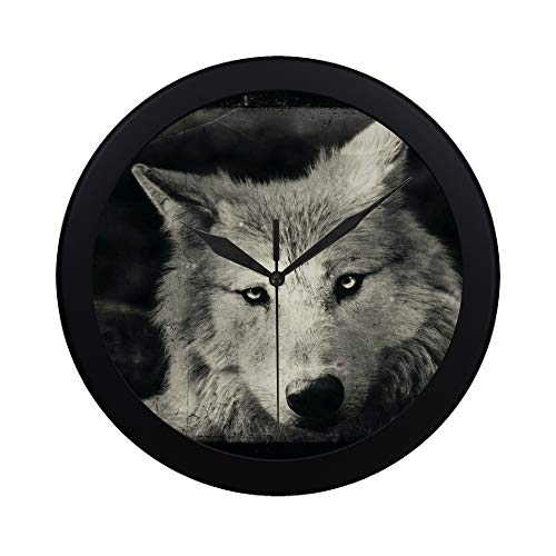 Modern Simple Awesome Halloween Wallpaper With Mystical Wolf Pattern Wall Clock Indoor Non-ticking Silent Quartz Quiet Sweep Movement Wall Clcok For Office,bathroom,livingroom Decorative 9.65 Inch]()