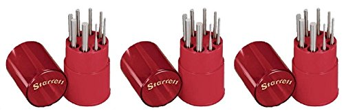 Starrett S565WB Drive Pin Punch 8-Piece Set, 1/16''-5/16'' Pin Diameters, 4'' Overall Length, In Plastic Case (3-(Pack))