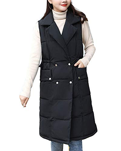 GladiolusA Womens Long Padded Puffer Vest Quilted Gilets Bodywarm Sleeveless Jacket Outwear Black