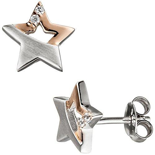 c747795a3a93 Jobo Niños Juego de joyas estrella plata 925 Rosegold dorados circonitas  con cadena 38 ...