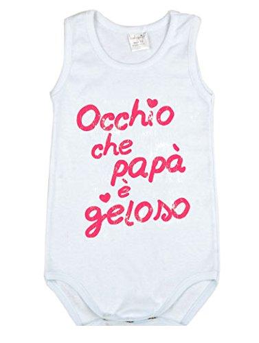 Tessuto a Costina Bianco Modello con Stampa 1-3 Mesi 100/% Cotone Body per Bambino e Bambina BabyVip