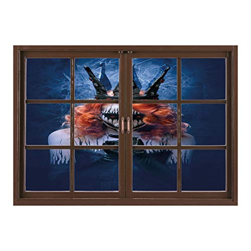 SCOCICI Window Frame Style Home Decor Art Removable Wall Sticker/Queen,Queen of Death Scary Body Art Halloween Evil Face Bizarre Make Up Zombie,Navy Blue Orange Black/Wall Sticker Mural ()