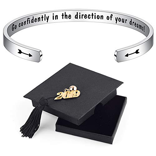 IEFSHINY High School Graduation Gifts for Her - Inspirational Go Confidently in The Direction of Your Dreams Bangle Bracelet High School College Graduation Gifts for Her Daughter Women Teen Girls -