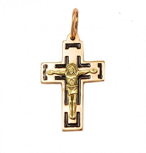 ASS or jaune 585 femme avec pendentif croix pendentif en forme de crucifix bicolore email-bleu