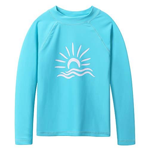 (TFJH E Long Sleeve Swim Shirt for Girls Rash Guard Suit Sun Protection 50+ 3t 4t, Cyan 4A)
