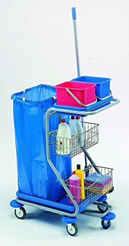 IPC Euromop - Carro de limpieza con ruedas, espacio para bolsa de basura, dos repisas y cestos: Amazon.es: Hogar