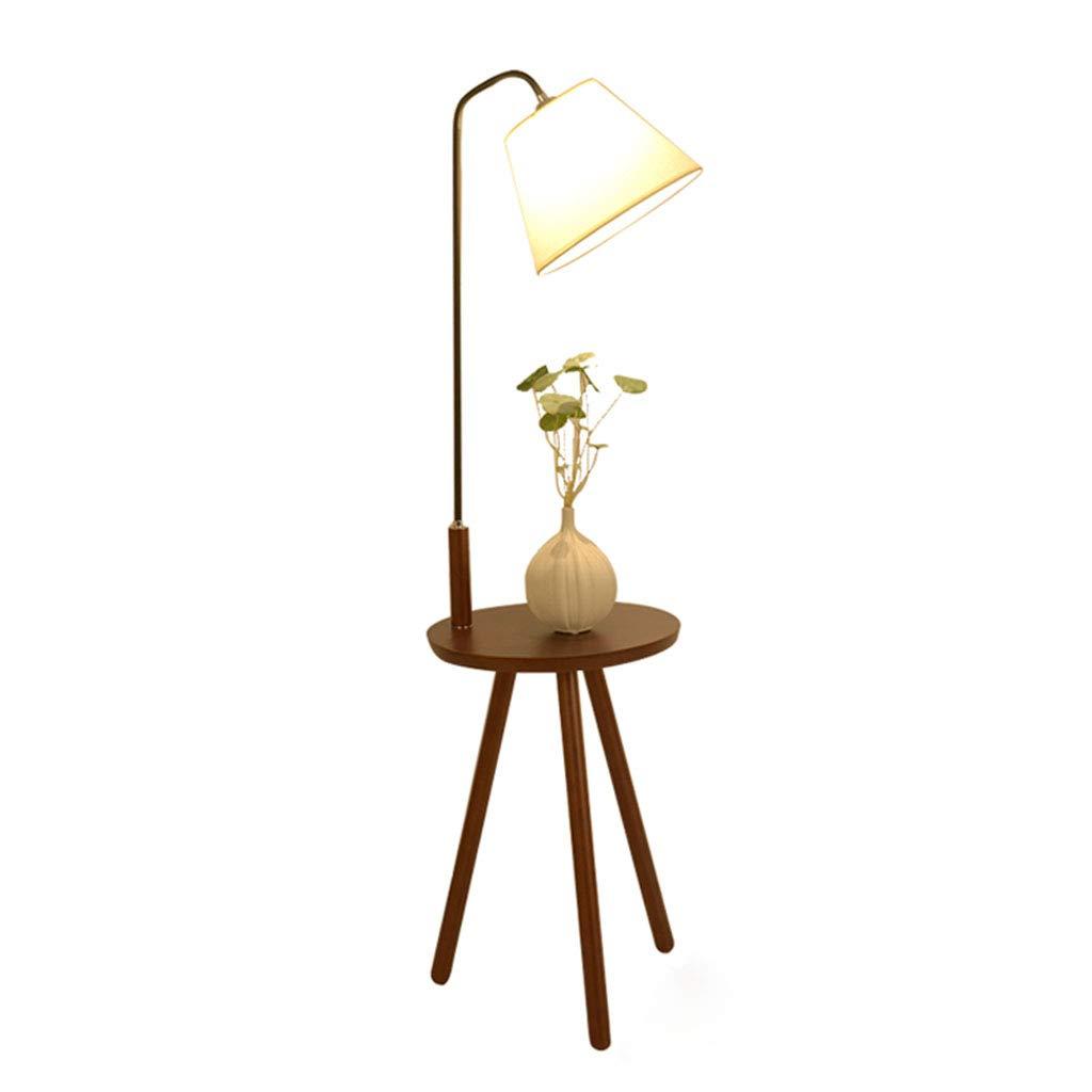 HHRR フロアランプ- コーヒーテーブルフロアランプ、北欧の木製のストレージテーブルリビングベッドルームテーブルランプテーブルランプ (色 : ウォールナット色) B07SCKQSKN ウォールナット色
