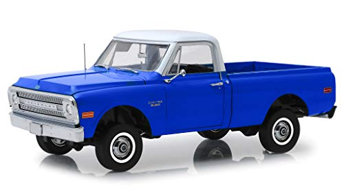 (1970 Chevrolet C-10 Pickup Truck with Lift Kit Dark Blue with White Top 1/18 Diecast Model Car by Highway 61 18011)