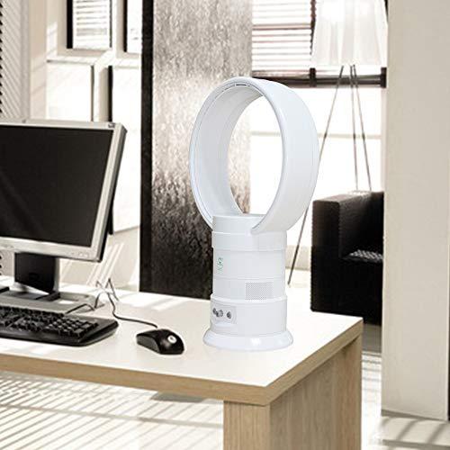 DINEGG Bladeless Fan, Oscillating Table Bladeless Fan, Baby Bladeless Fan, Remote Control, Sleep Timer, White
