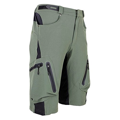ALLY Men's Water Repellent MTB Baggy Cycling Shorts, Loose-Fit Bicycle Biking 1/2 Pants, Outdoor Sports Leisure Bottoms (XL 34