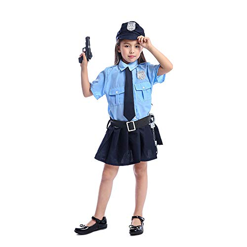 Girls Police Officer Uniform Little Cutie Cop Costume Outfit Kids Halloween Fancy Dress (Blue, M)]()