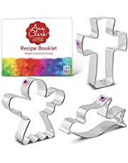 Ann Clark Cookie Cutters Religious Christmas Cookie Cutter Set with Recipe Book - 3 Piece - Angel, Cross and Dove - USA Made Steel