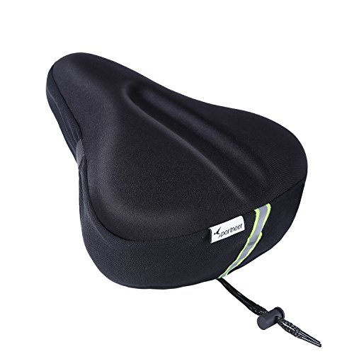 Sportneer Reflective Gel Bike Seat, Big Size Soft Wide Excercise Bicycle Cushion For Bike Saddle, Comfortable Cover Fits Cruiser And Stationary Bikes, Indoor Cycling, Spinning With Waterpoof Cover