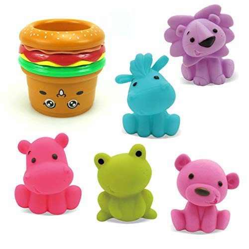 Kid Puzzle Toy,AutumnFall Funny Stacking Cups Animals Indoor Outdoor Beach Fun Bathtub Fun Toy for Chidren (A)