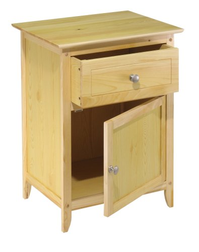 Modern Lines Classic Night Stand Cabinet Beechwood Natural Finish