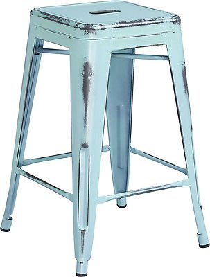 24'' Industrial Antique Dream Blue Restuarant Metal Stool For Indoor-Outdoor by Unbranded