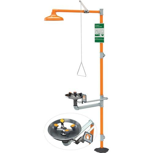 Guardian GBF1909 Stainless Steel Barrier-Free Safety Station Shower with Wide Area Eye/Face Wash and Head, One Size, Orange