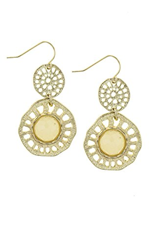 THE JEWEL RACK ROUND FAUX STONE ACCENT CARVED DROP EARRINGS (Beige) (Drop Crislu Necklace)