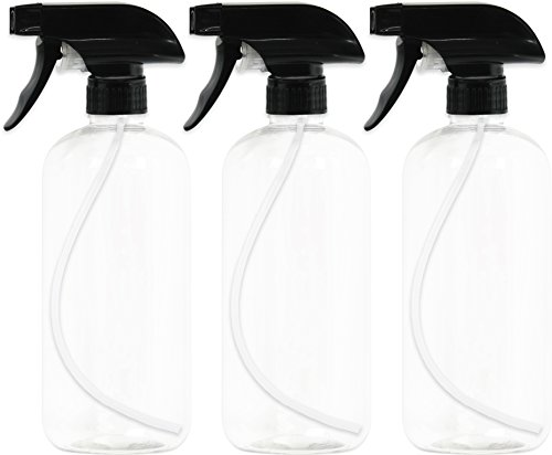 3 Pack - EPAuto Heavy Duty Chemical Resistant Bottles with Sprayer (16 oz), Clear