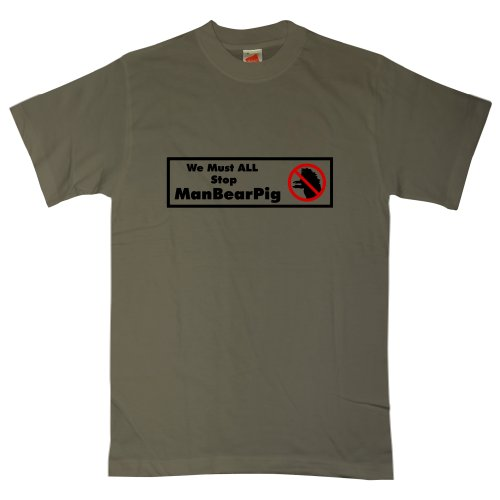 Mens T Shirt - We Must All Stop Manbearpig - Olive - -