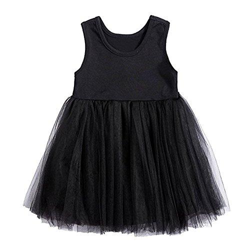 Baby Toddle Girls Tutu Dress Short Sleeves Stripe Tulle Skirts Mini Dress (2T(2-3Years), Black)