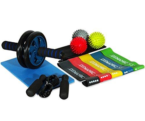 4-in-1 Workout Equipment Set AB Wheel Roller 5 Resistance Ba