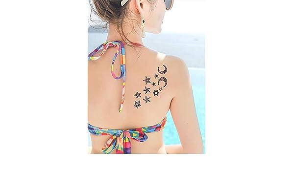 Tatuajes temporales de noche con estrellas y luna minimalistas ...