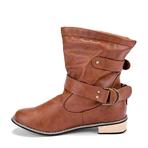 Probaby 10 Western Boots - York Zhu Women Boots,Female Winter Mid Calf Bootie Western Cowboy Boot