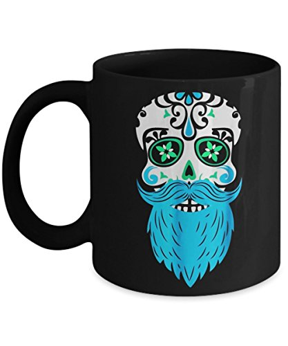 Sugar Skull Beard, Day Of The Dead - Halloween Day Coffee Mug Gift Coffee Cup Mugs - Halloween Great Gifts Idea for Men, Women, Kids, Mom, Dad, Son, -