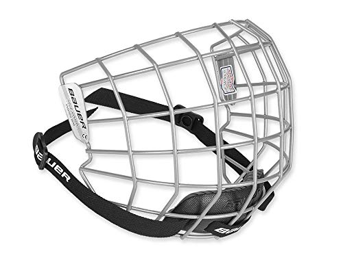 Bauer FM2100 Ice Hockey Helmet Face Mask Cage with Mounting Hardware - CSA, CE, HECC Certified (Silver, Small) ()