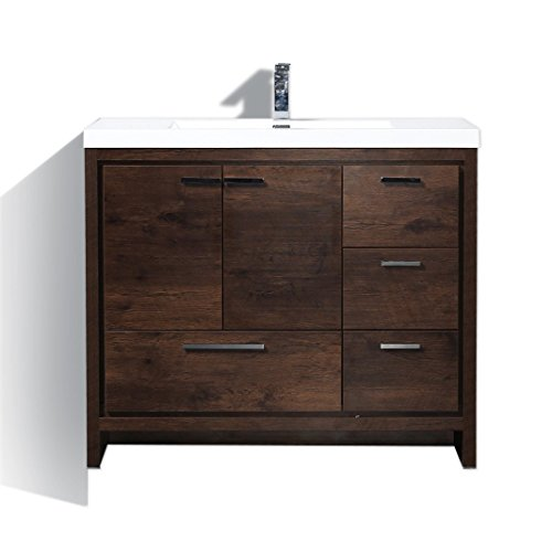 Copeland 42'' Free Standing Modern Bathroom Vanity (Right, Rosewood)