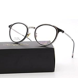 Natwve&Co Stainless Designer Optical Frame Glasses for women man Round Shape(9251) (Dark Black with Silver)