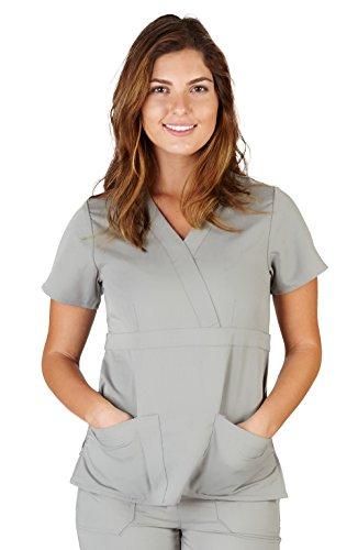 Ultra Soft Brand Scrubs - Premium Womens Junior Fit 3 Pocket Mock Wrap Scrub Top, Grey 36151-XX-Small (Medical Scrubs Junior)