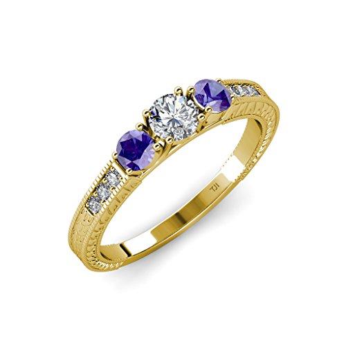 TriJewels Diamond and Iolite Milgrain 3 Stone Ring with Side Diamond 0.85 ctw 14K Yellow Gold.size 9.0
