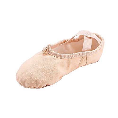 MSMAX Split Sole Canvas Ballet Shoe Women Slip on Flower Flats Beige