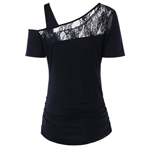 Imprimer ❤️Mode Panneau Blouse Dentelle Manches Tops Femmes Tefamore À Rose Noir Arrondi shirt Courtes T Col TIqSrIwCn