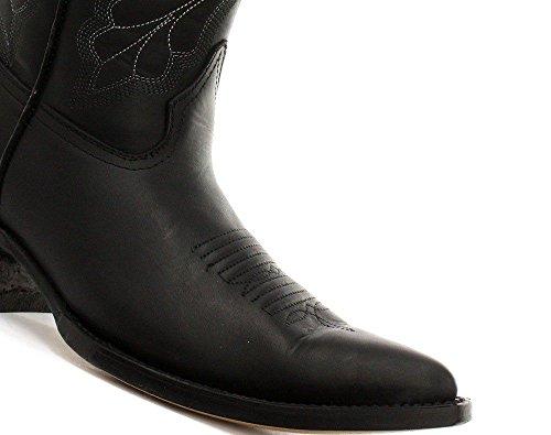 Grinders Femmes Dallas noir en cuir véritable Santiag Western mi-mollet Toe Bottes