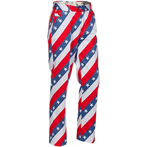 Royal & Awesome Men's Plus Size Golf Pants, Pars and Stripes, 42W x 34L (John Daly Golf Pants)
