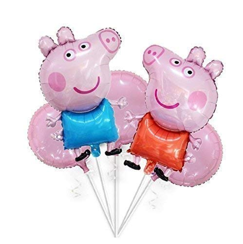 Large 32 George and Peppa Balloons Bouquet 5 pcs Kids Birthday Theme Party Balloons Party Supplies Party Favors Birthday Foil Helium Balloon